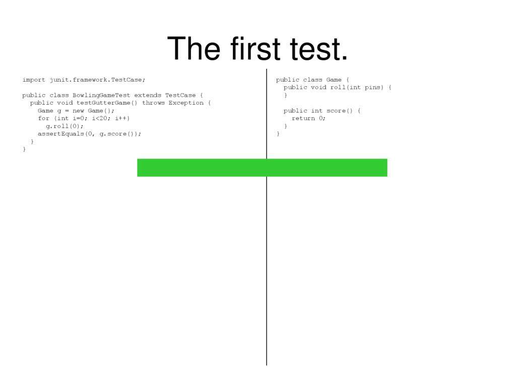 The first test. import junit.framework.TestCase...