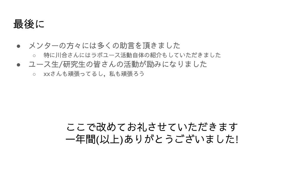 最後に ● メンターの方々には多くの助言を頂きました ○ 特に川合さんにはラボユース活動自体の...