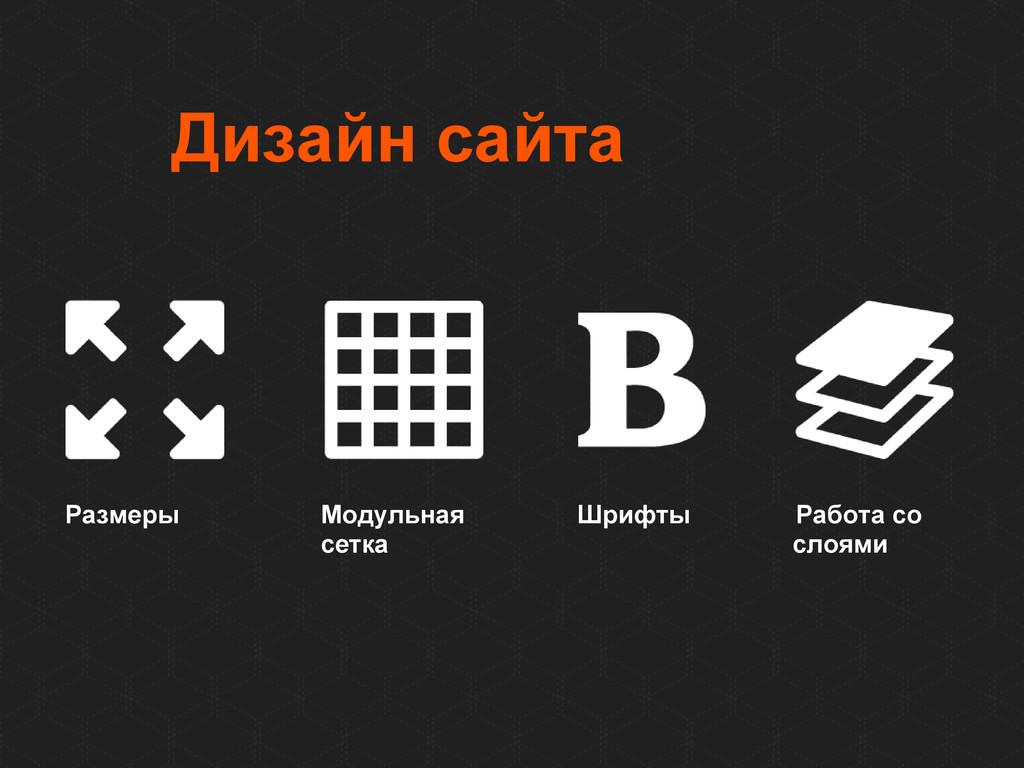 Дизайн сайта Размеры Модульная Шрифты Работа со...