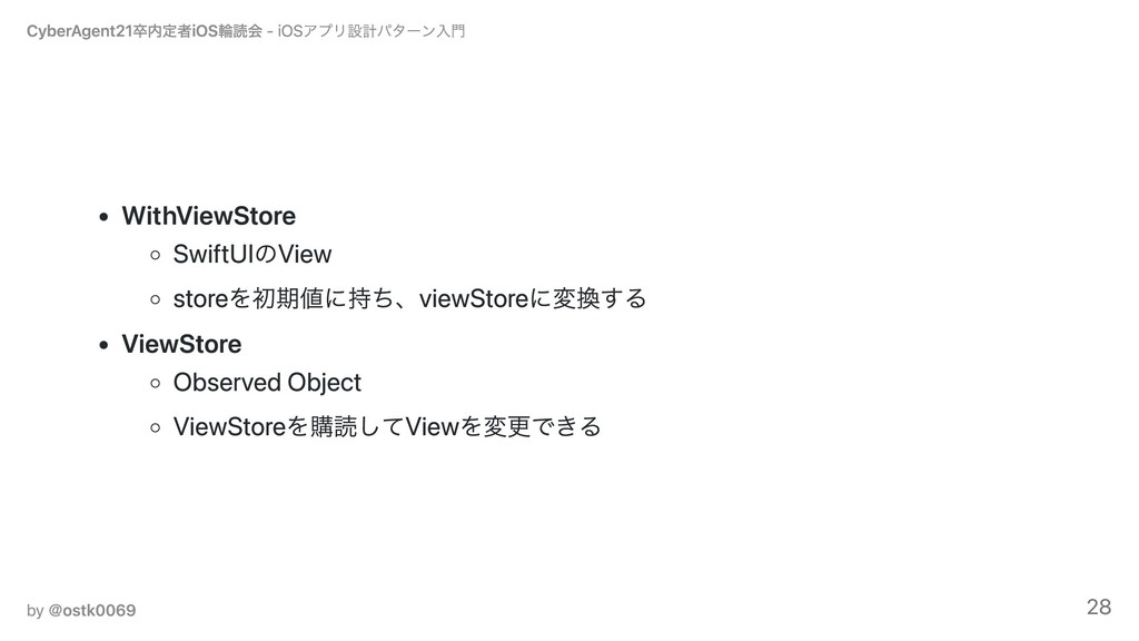 WithViewStore SwiftUIのView storeを初期値に持ち、viewSto...