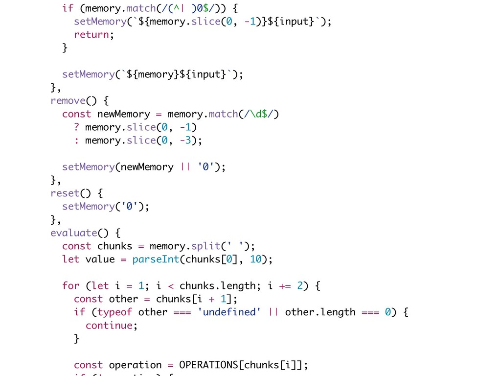 if (memory.match(/(^| )0$/)) { setMemory(`${mem...