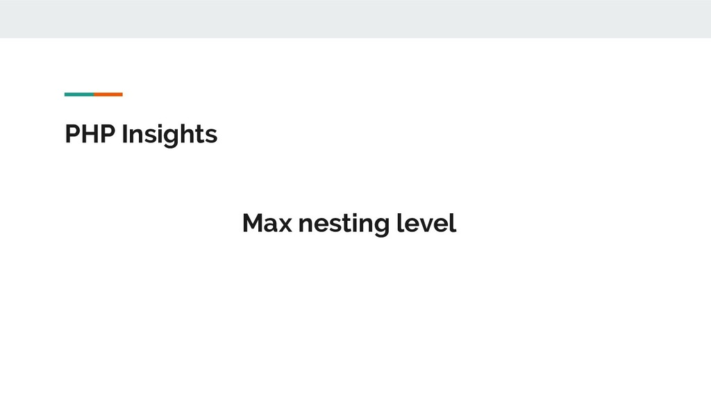 PHP Insights Max nesting level