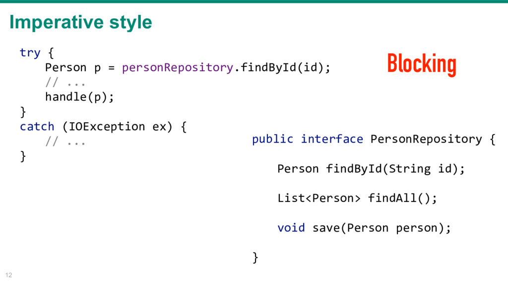 Imperative style 12 public interface PersonRepo...