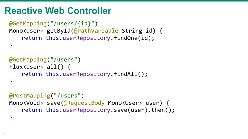 "Reactive Web Controller 21 @GetMapping(""/users/..."