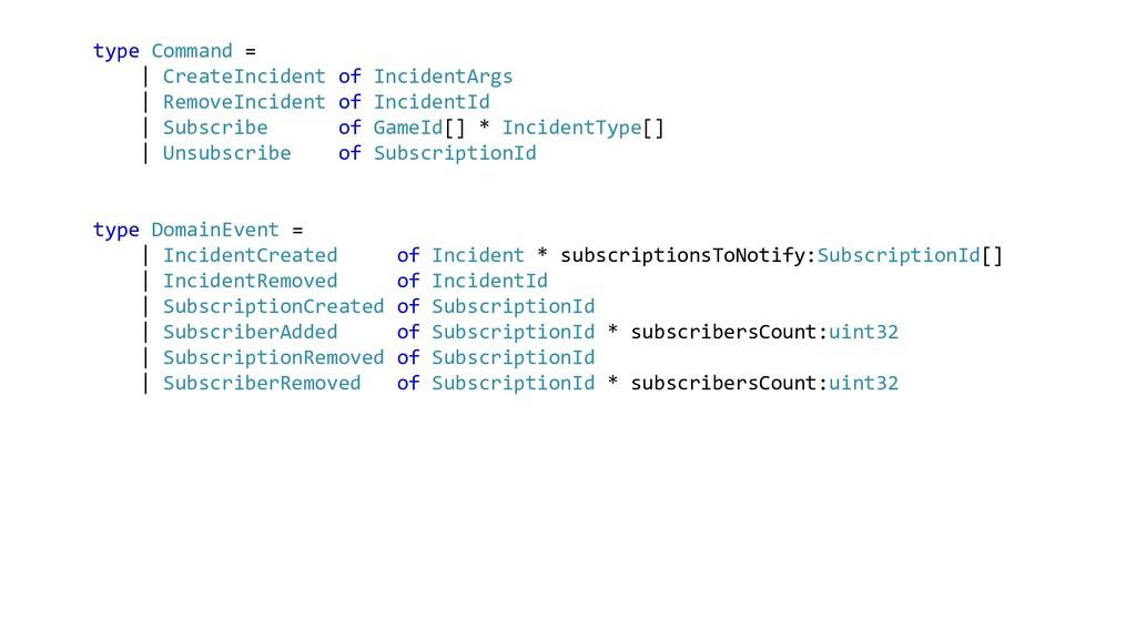 type Command = | CreateIncident of IncidentArgs...