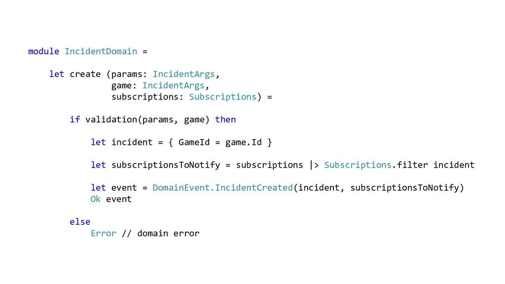 module IncidentDomain = let create (params: Inc...