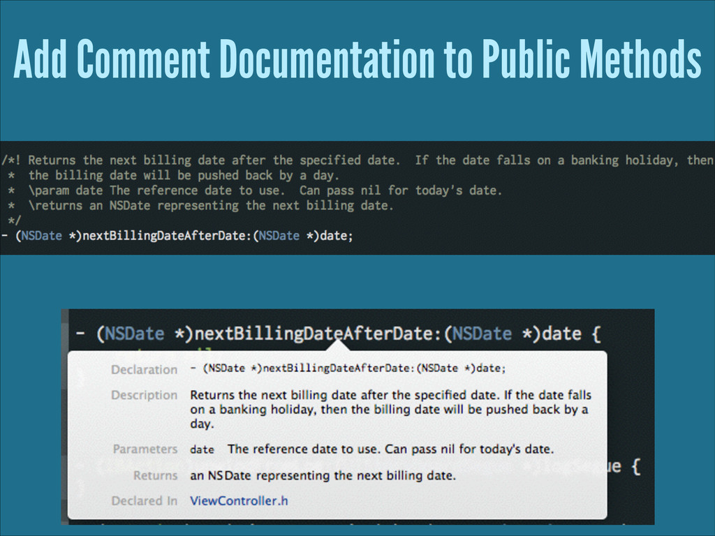 Add Comment Documentation to Public Methods
