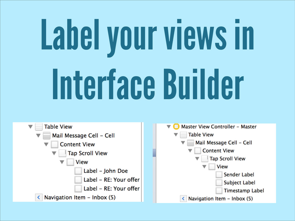 Label your views in Interface Builder