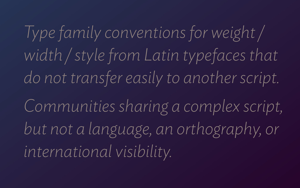 Type family conventions for weight / width / st...