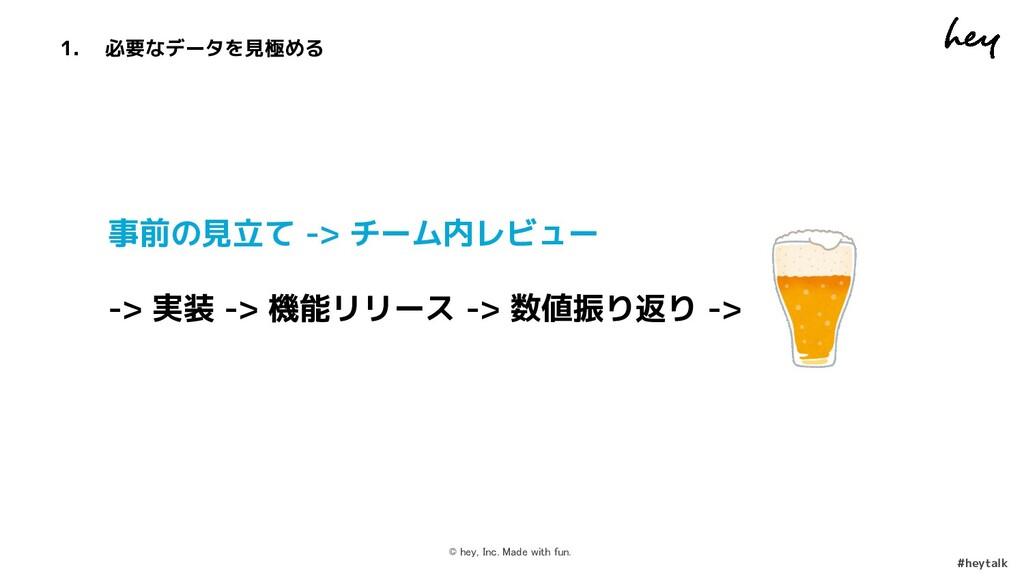 © hey, Inc. Made with fun.  #heytalk 事前の見立て ->...