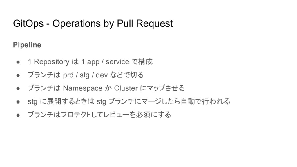 GitOps - Operations by Pull Request Pipeline ● ...