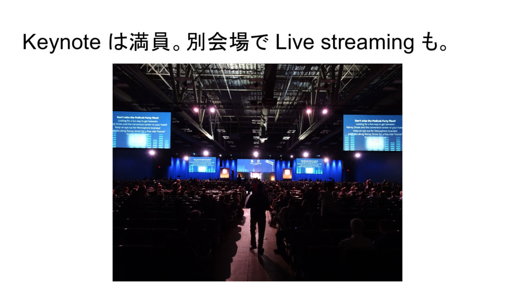 Keynote は満員。別会場で Live streaming も。