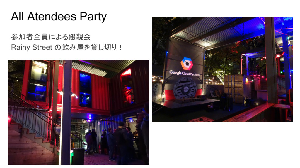 All Atendees Party 参加者全員による懇親会 Rainy Street の飲み...
