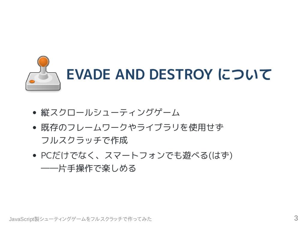 EVADE AND DESTROY について 縦スクロールシューティングゲーム 既存のフレーム...