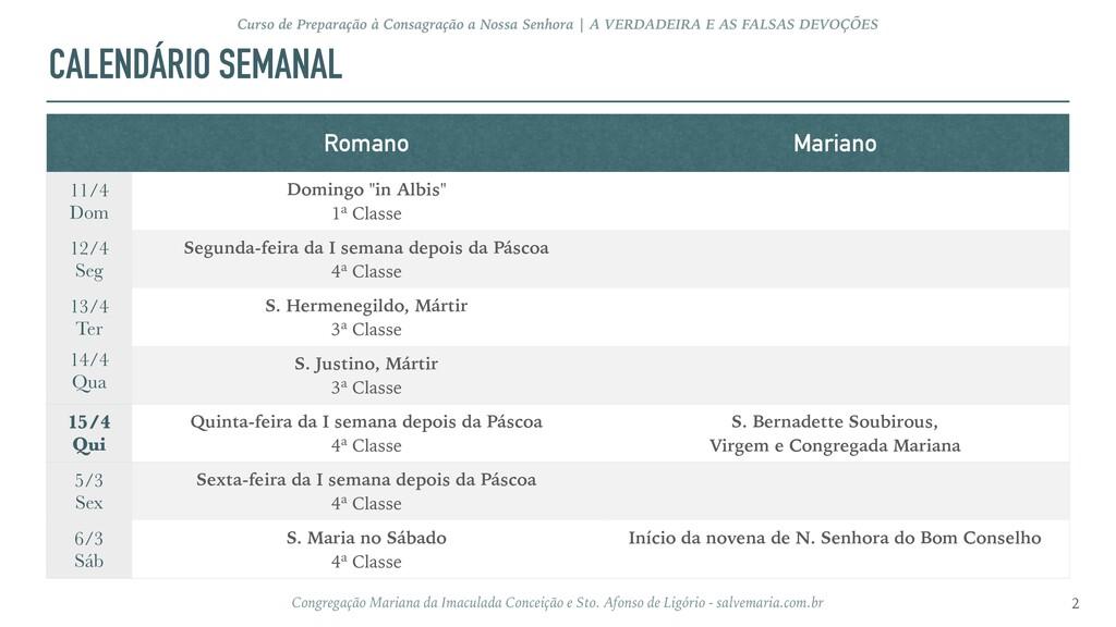 CALENDÁRIO SEMANAL 2 Curso de Preparação à Cons...