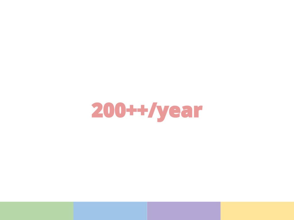 200++/year