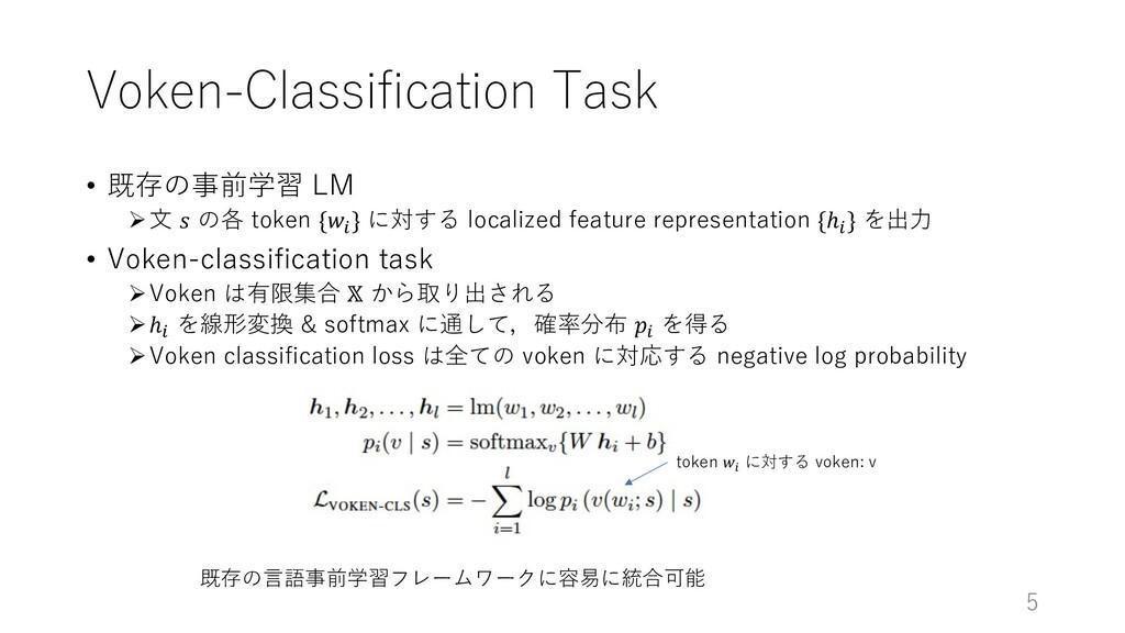 Voken-Classification Task • 既存の事前学習 LM Ø⽂ 𝑠 の各 ...