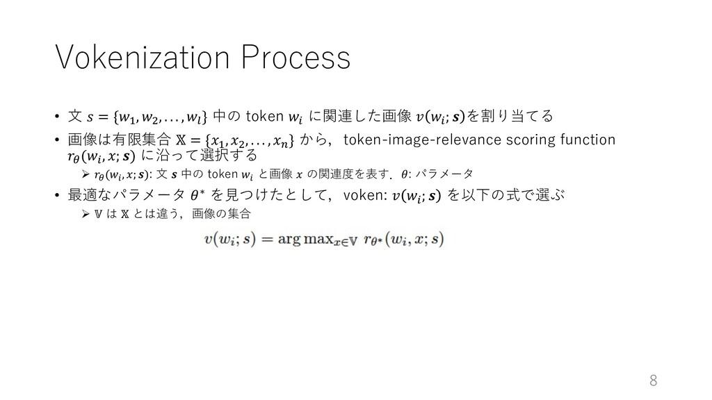 """Vokenization Process • ⽂ 𝑠 = {𝑤"""", 𝑤#, . . . , 𝑤..."""