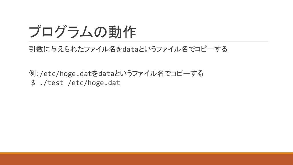 プログラムの動作 引数に与えられたファイル名をdataというファイル名でコピーする 例:/et...