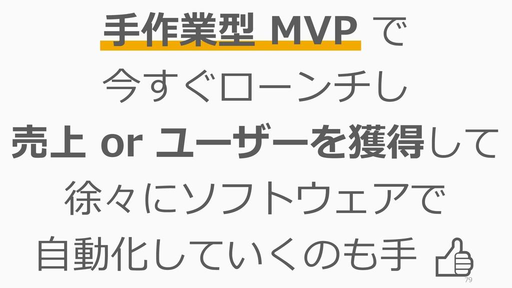 79 手作業型 MVP で 今すぐローンチし 売上 or ユーザーを獲得して 徐々にソフトウェ...