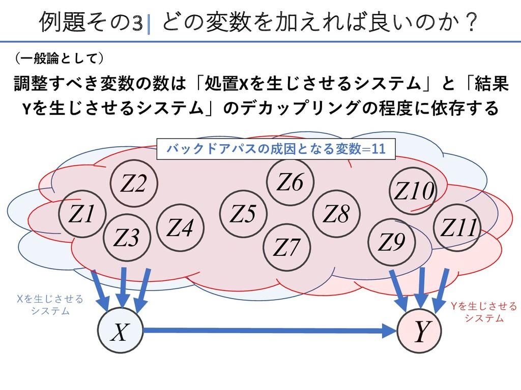 例題その3  どの変数を加えれば良いのか? 調整すべき変数の数は「処置Xを⽣じさせるシステム」...