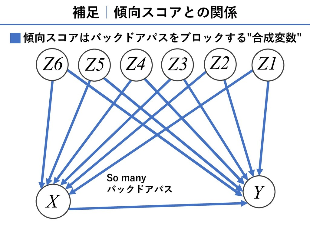 補⾜ 傾向スコアとの関係 X Y Z1 Z3 Z2 Z5 Z6 Z4 So many バックド...
