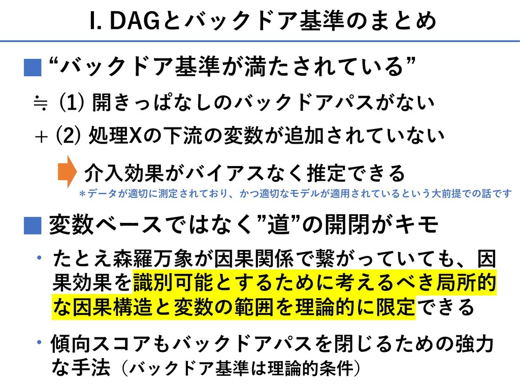 "I. DAGとバックドア基準のまとめ ""バックドア基準が満たされている"" ■ + (2) 処理..."