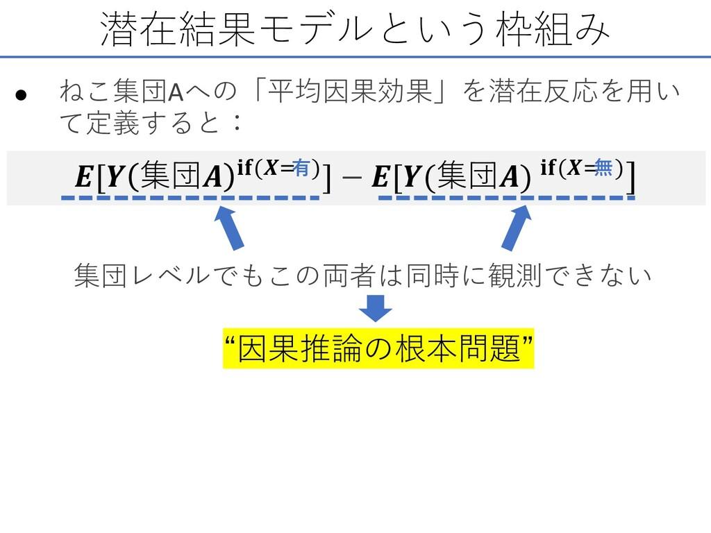潜在結果モデルという枠組み • ねこ集団Aへの「平均因果効果」を潜在反応を⽤い て定義すると:...