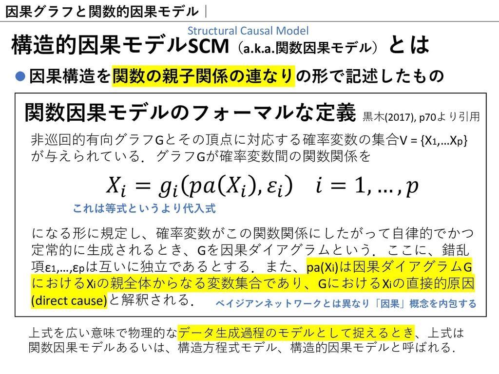 因果グラフと関数的因果モデル  構造的因果モデルSCM(a.k.a.関数因果モデル)とは 因果...