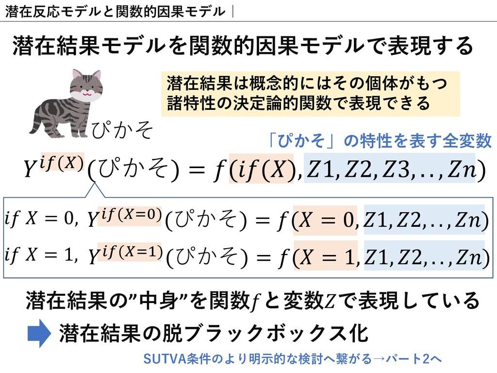 潜在反応モデルと関数的因果モデル  潜在結果モデルを関数的因果モデルで表現する 𝑌'(())(...