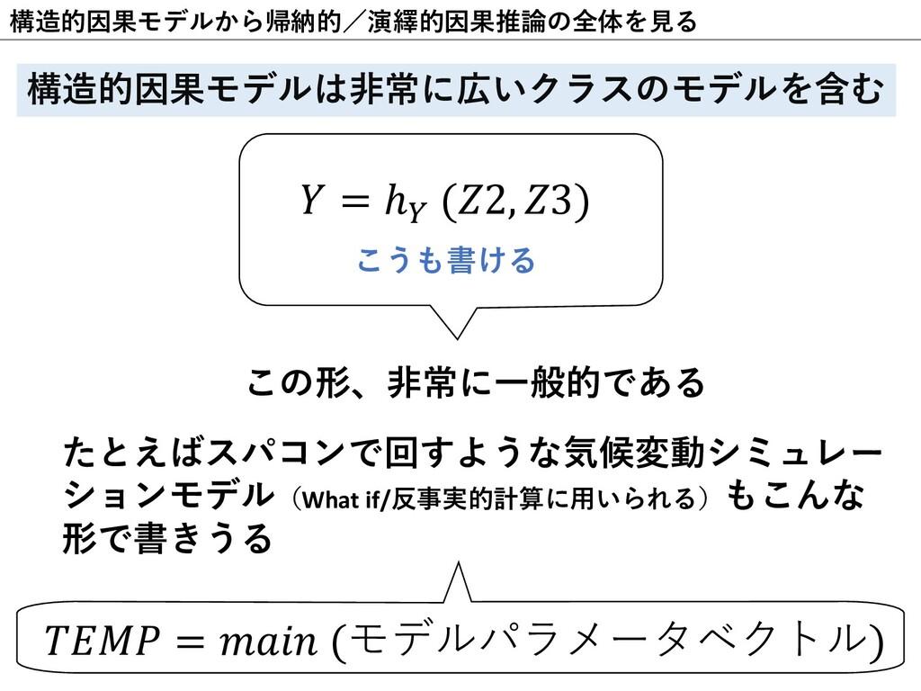 """構造的因果モデルから帰納的/演繹的因果推論の全体を⾒る 𝑌 = ℎ"""" (𝑍2, 𝑍3) こうも..."""