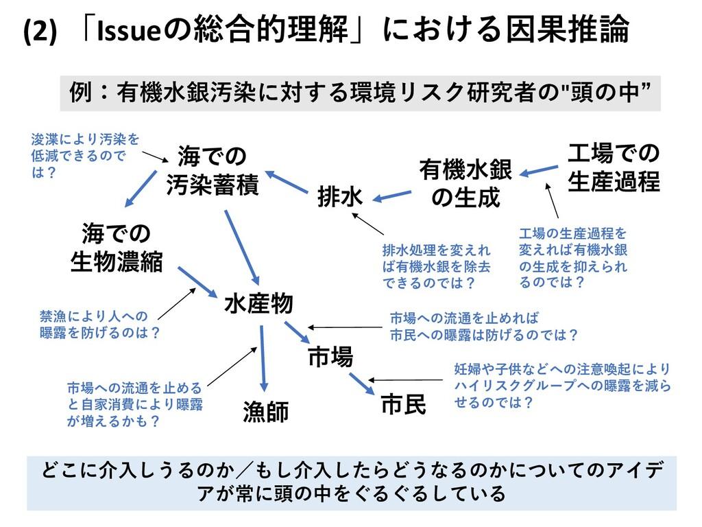 (2) 「Issueの総合的理解」における因果推論 150 どこに介⼊しうるのか/もし介⼊した...