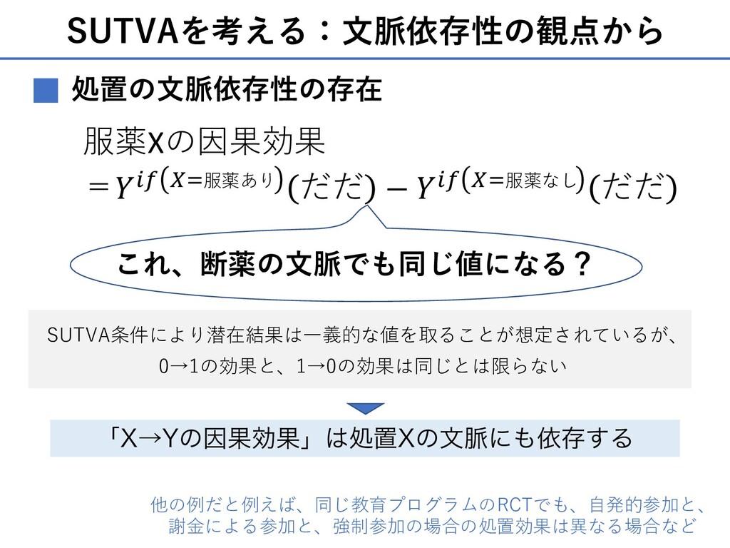 SUTVAを考える:⽂脈依存性の観点から 処置の⽂脈依存性の存在 ■ 服薬Xの因果効果 =𝑌'...