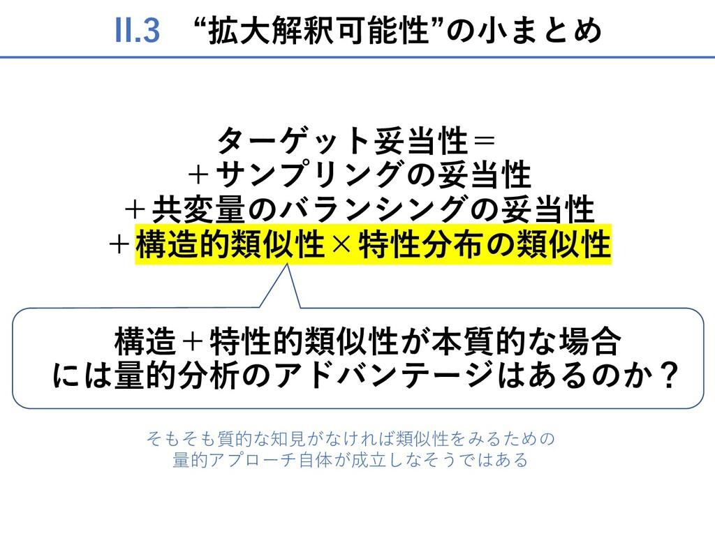 "II.3 ""拡⼤解釈可能性""の⼩まとめ ターゲット妥当性= +サンプリングの妥当性 +共変量の..."