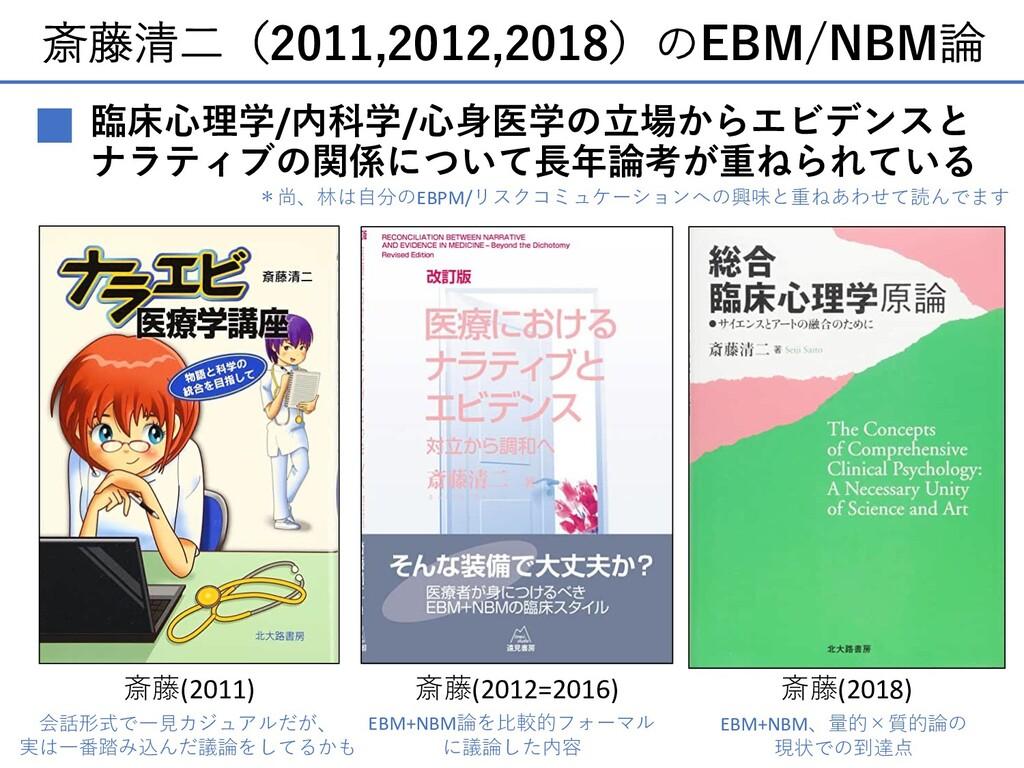 斎藤清⼆(2011,2012,2018)のEBM/NBM論 ■ 臨床⼼理学/内科学/⼼⾝医学の...