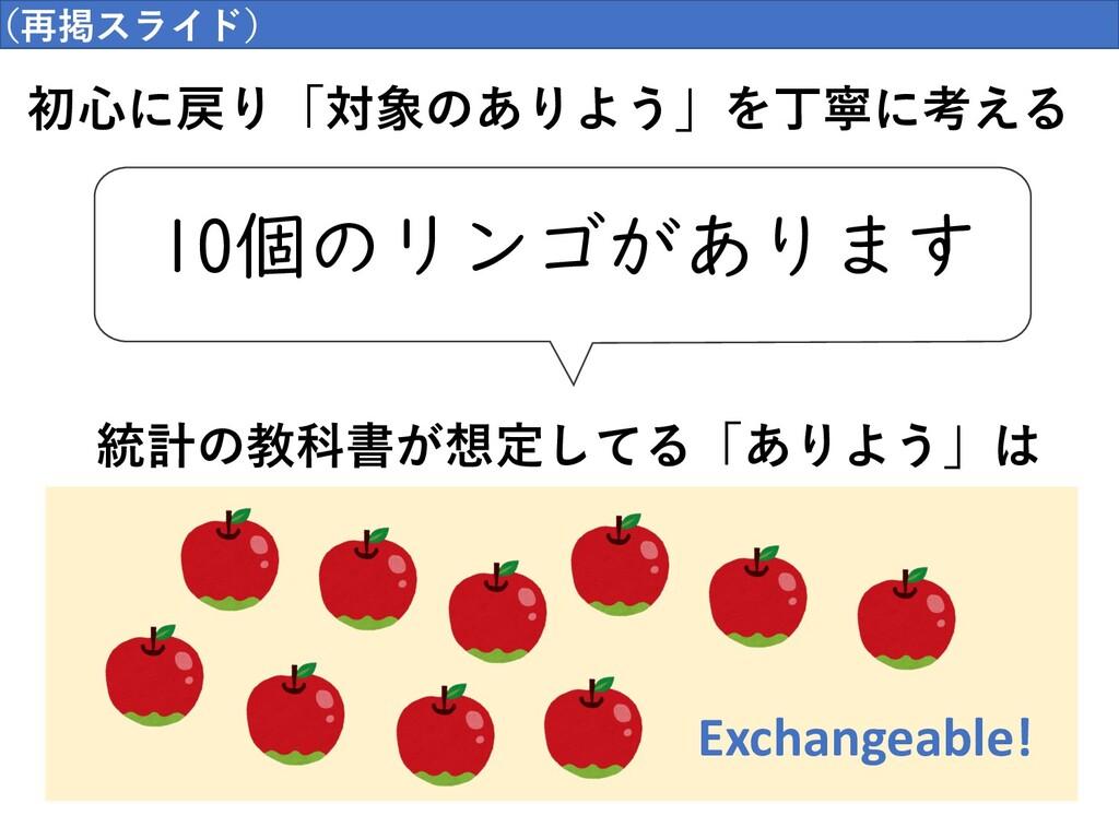 因果推論のはじまりの場所  初⼼に戻り「対象のありよう」を丁寧に考える 10個のリンゴがありま...