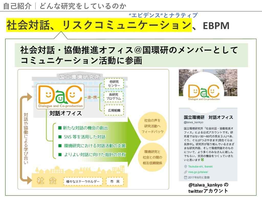 ⾃⼰紹介 どんな研究をしているのか 社会対話、リスクコミュニケーション、EBPM @taiwa...