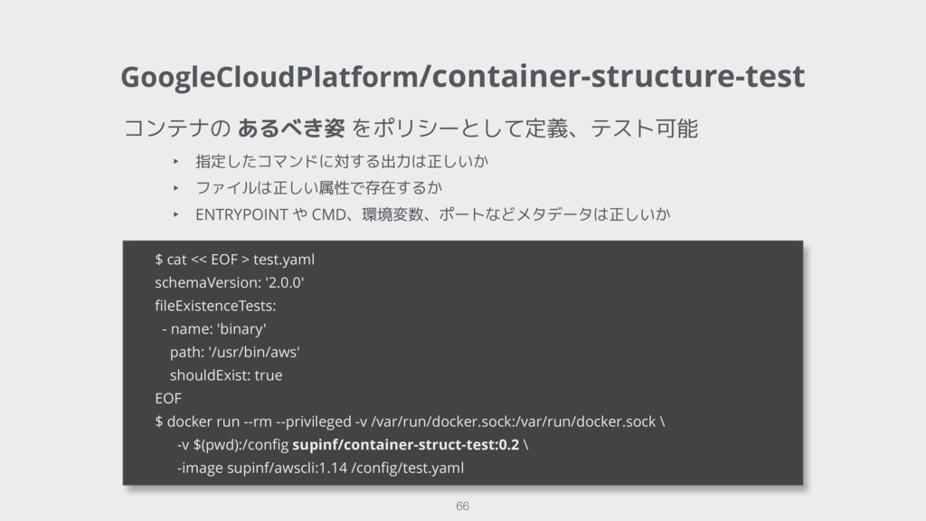 GoogleCloudPlatform/container-structure-test 66...