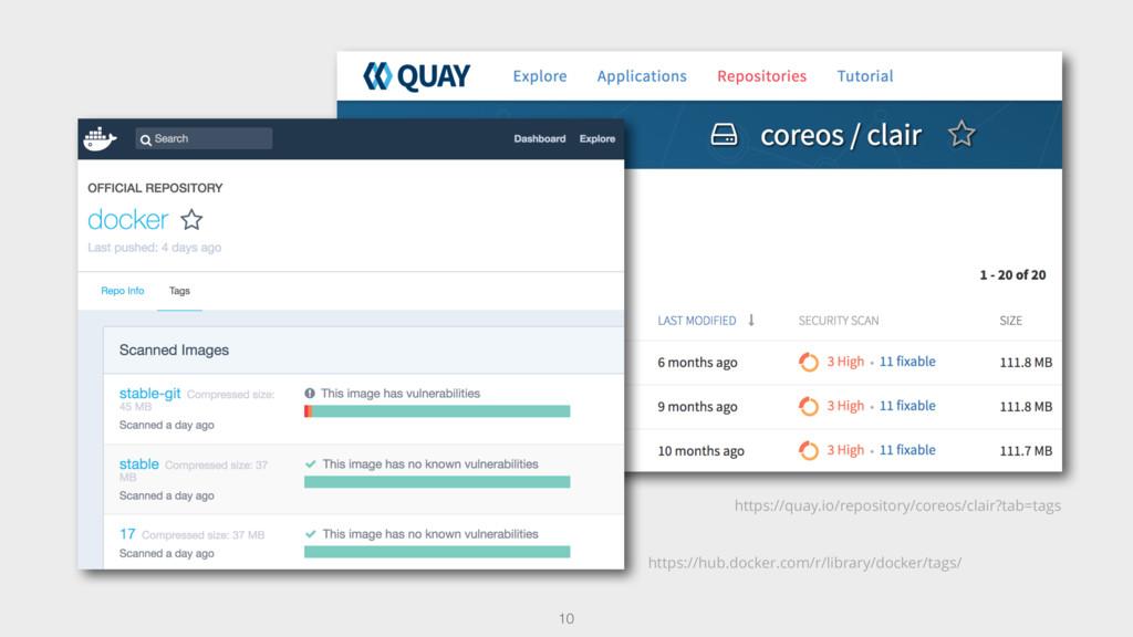 10 https://quay.io/repository/coreos/clair?tab=...