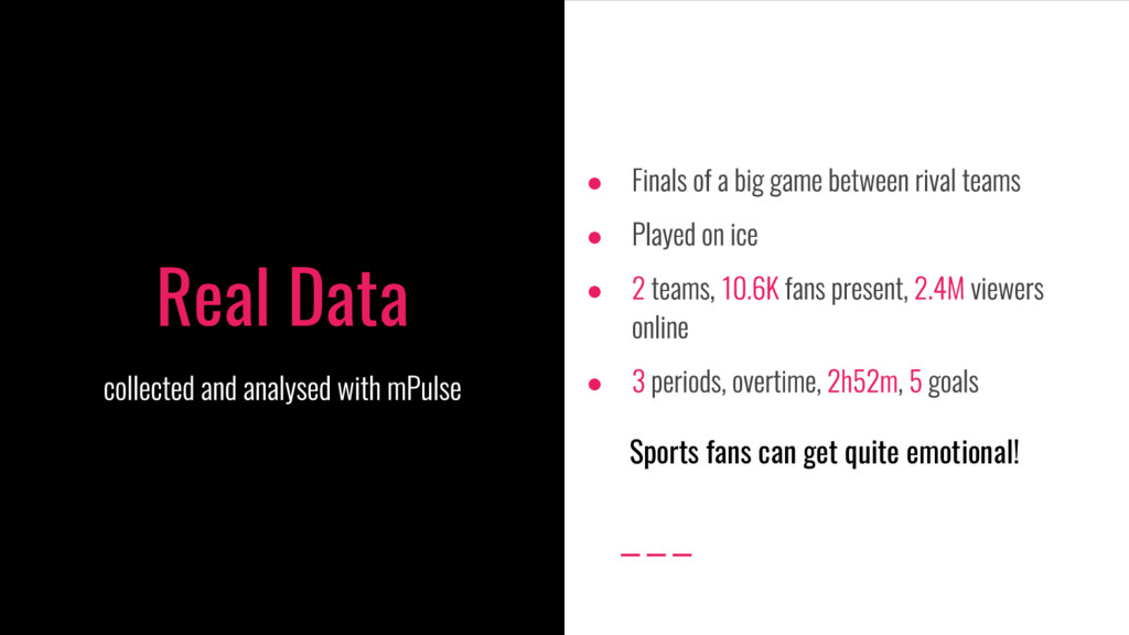 Real Data ● ● ● ● Sports fans can get quite emo...