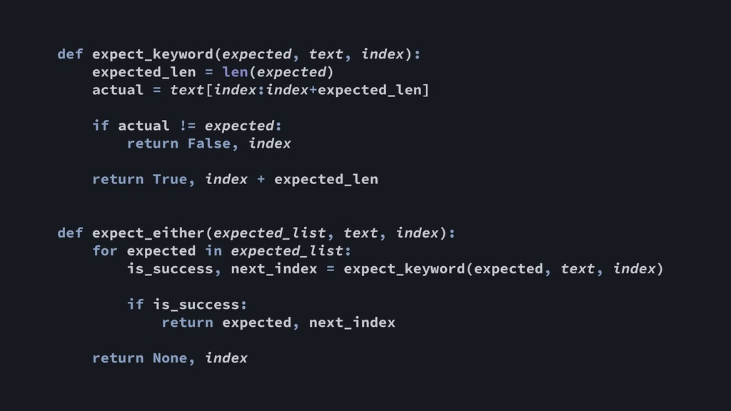 def expect_keyword(expected, text, index): expe...