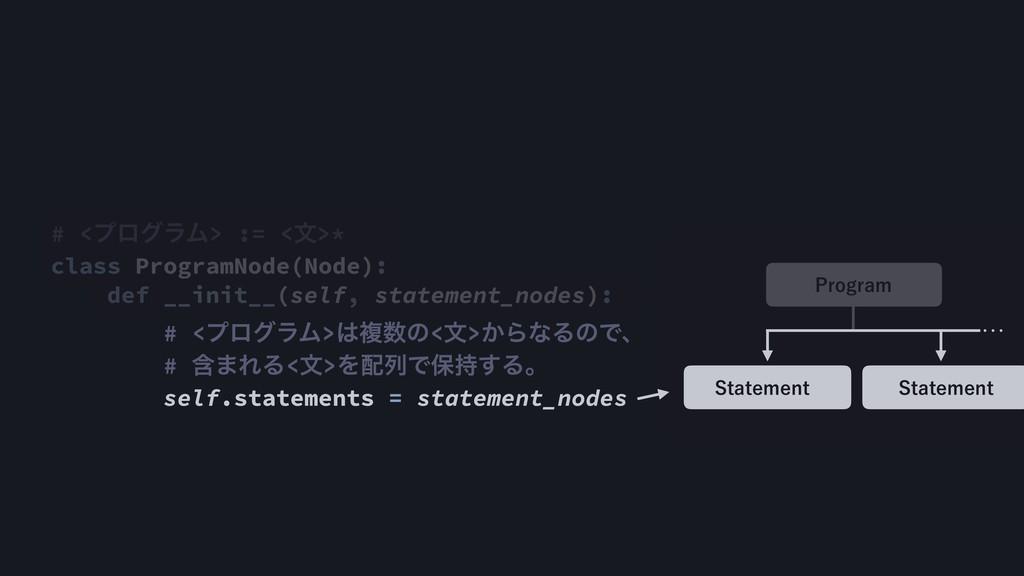 # <ϓϩάϥϜ> := <จ>* class ProgramNode(Node): def ...