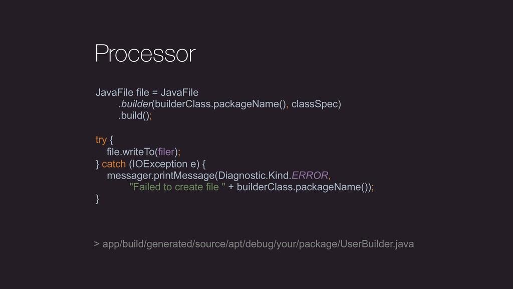 Processor JavaFile file = JavaFile .builder(bui...