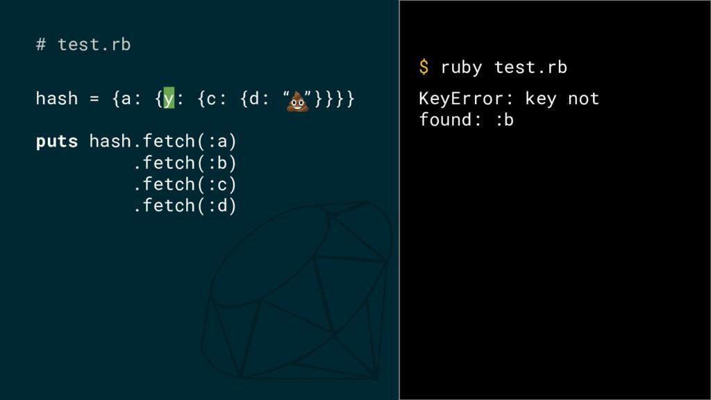 """hash = {a: {y: {c: {d: """" """"}}}} puts hash.fetch(..."""