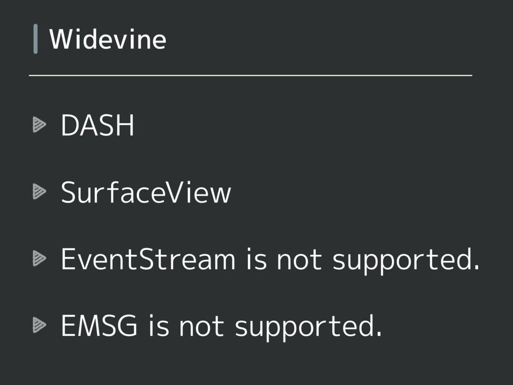DASH SurfaceView EventStream is not supported. ...