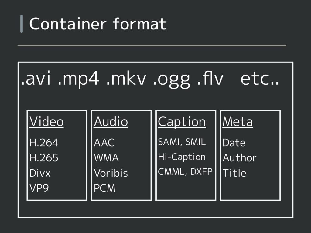 .avi .mp4 .mkv .ogg .flv etc.. Container format ...