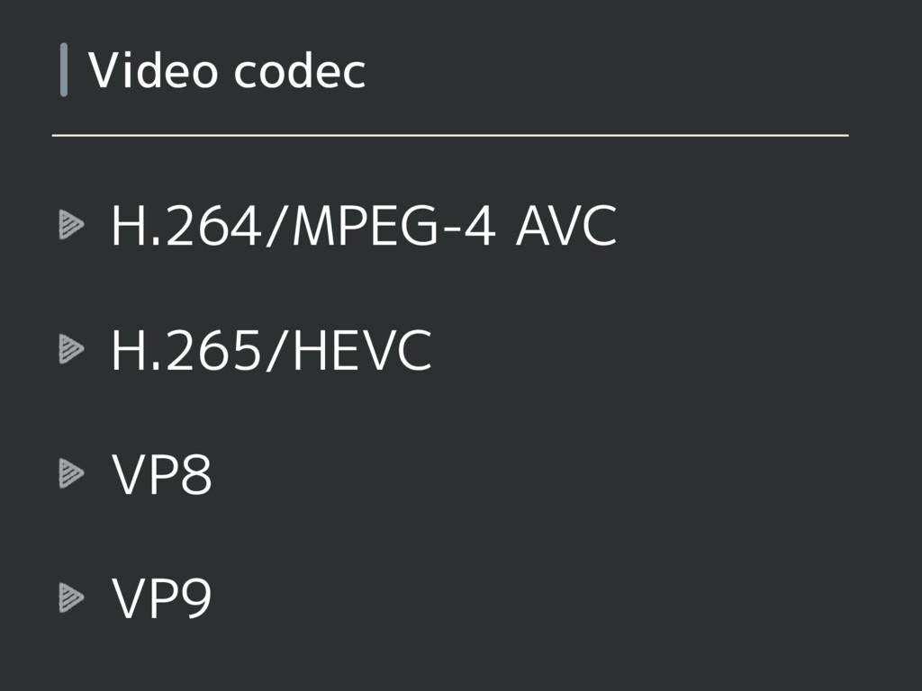 H.264/MPEG-4 AVC H.265/HEVC VP8 VP9 Video codec