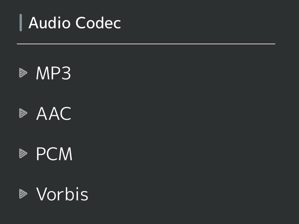MP3 AAC PCM Vorbis Audio Codec
