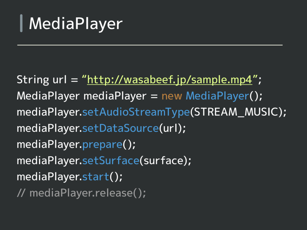 """MediaPlayer String url = """"http://wasabeef.jp/sa..."""