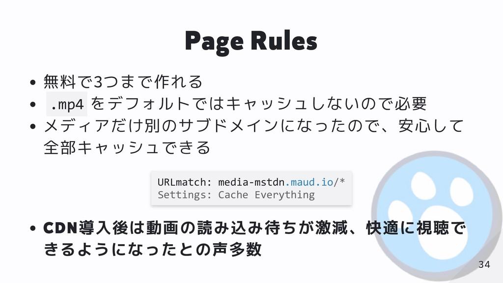 Page Rules 無料で3つまで作れる .mp4 をデフォルトではキャッシュしないので必要...